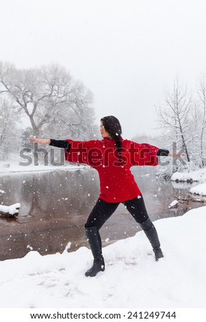 Yoga in the Snow - stock photo