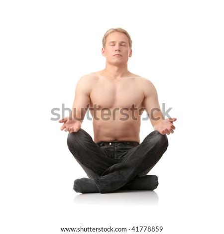 Yoga male isolated on white background - stock photo