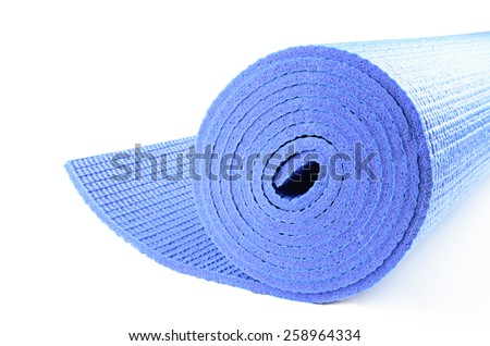 yoga mat for exercise on white background