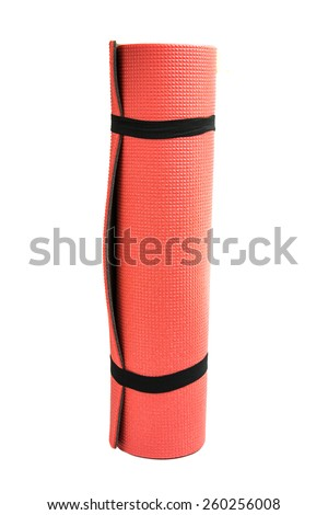 yoga mat for exercise on white background - stock photo