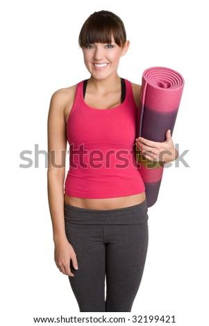 Yoga Mat Girl - stock photo