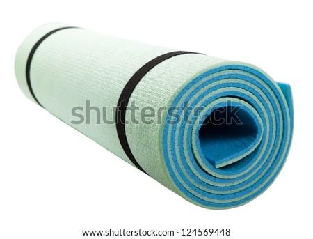 Yoga mat isolated on white background - stock photo