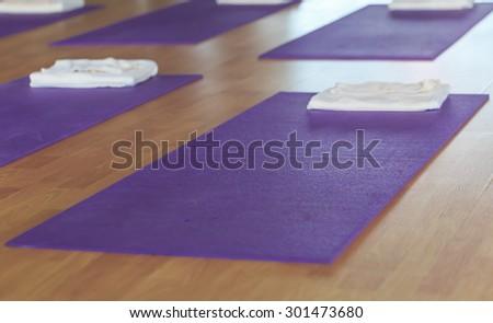 yoga mat on the floor  - stock photo