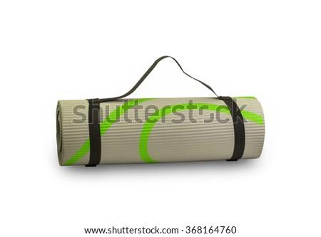 yoga mat on white background - stock photo