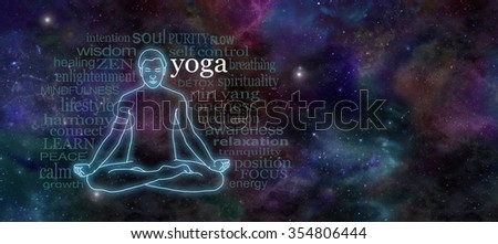 Yoga Meditation Website Header - Wide deep space night sky banner with a glowing male silhouette outline in lotus position on the left surrounded by a word cloud and plenty of copy space on right  - stock photo