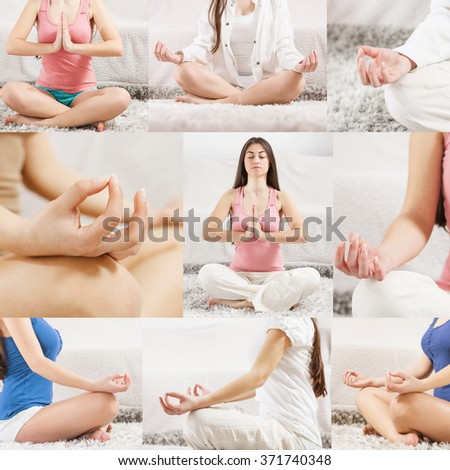 Yoga Meditation Woman Relaxing at home.Collage of meditating pose.