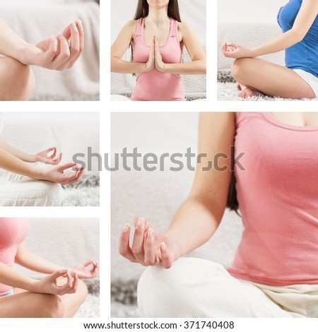 Yoga Meditation Woman Relaxing at home.Collage of meditating pose. - stock photo
