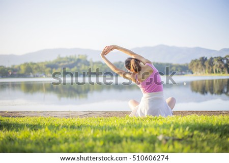 Yoga, Morning the Asia women beautiful model health care show yoga , healthy slender is smile on the garden . shirts is pink, background, girl yoga hand exercise, mountain background, sunset, sunrise