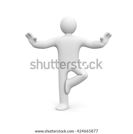 Yoga - person in the pose. 3d illustration