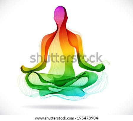 Yoga pose, Abstract color illustration over white background, lotus pose - stock photo