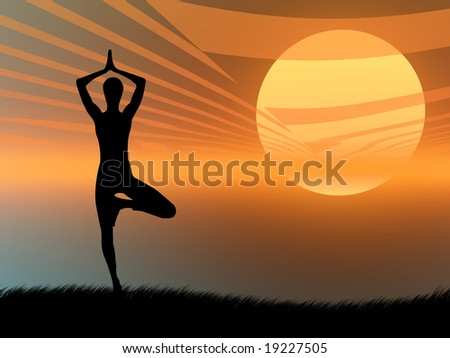 Yoga pose and meditation on a colorful sunset