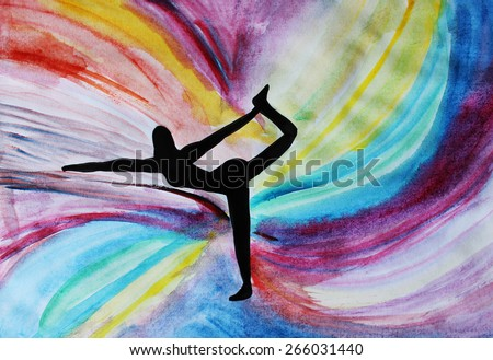 Yoga pose or Yoga girl, background - stock photo