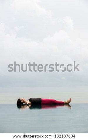 Yoga pose Relax floating on the water, Savasana Corpse Pose