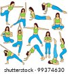 Yoga poses collection and meditation poses - colored illustration - stock photo