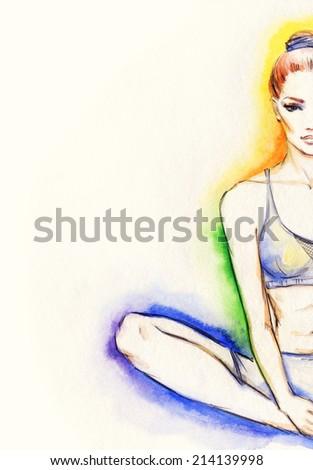 yoga position. watercolor illustration  - stock photo