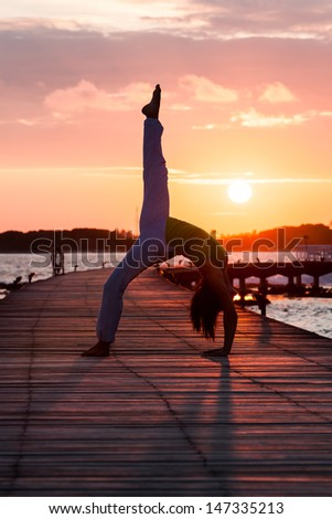 Yoga practice during sunset