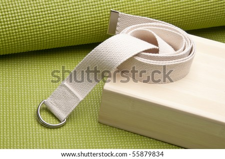 Yoga Practice Equipment : Mat, Strap and Bamboo Block. - stock photo