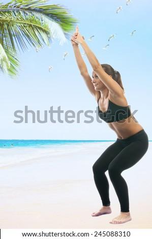 Yoga seria: Ardha Utkatasana, is also called Chair Pose - stock photo