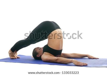 yoga seria halasana plow pose asana stock photo royalty