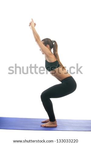 Yoga seria: Parivrtta Ardha Utkatasana, is also called Chair Pose isolated on white background - stock photo