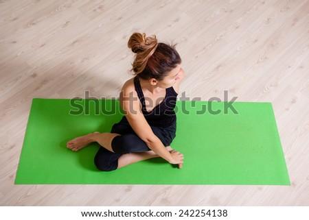 yoga twisting - stock photo