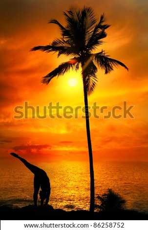 Yoga Urdhva Prasarita Eka Padasana pose by Man in silhouette with palm tree nearby outdoors at ocean and sunset background. Vagator beach, Goa, India - stock photo