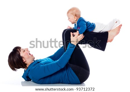 Yoga with mother and baby on white background - stock photo