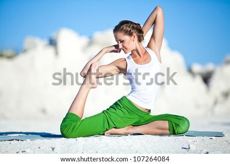 yoga woman - stock photo