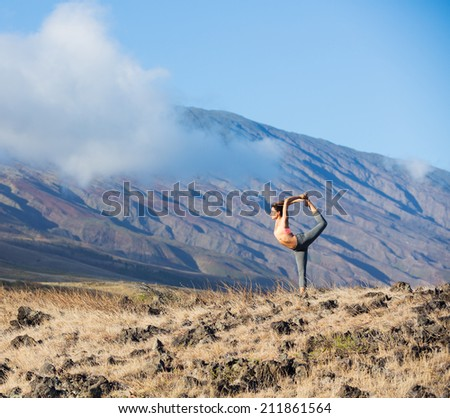 Yoga woman outdoors - stock photo