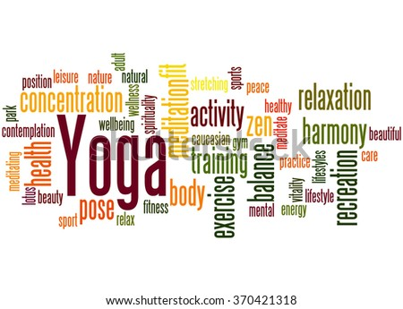 Yoga, word cloud concept on white background.