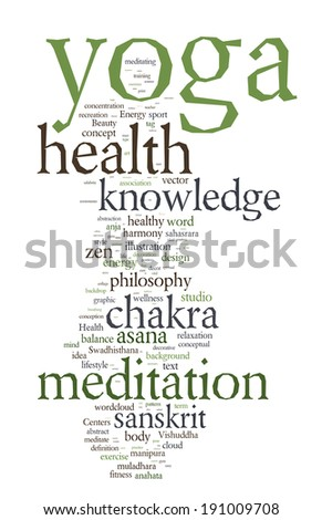 YOGA. Word collage on white background.  - stock photo