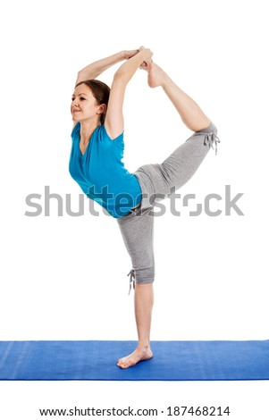 Stock photo yoga young beautiful woman yoga instructor doing lord of