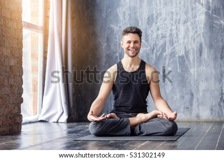 yoga young caucasian yoga master smiling stock photo edit now rh shutterstock com Yoga Poses for Beginners Beginners Guide to Yoga