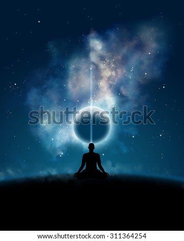 Yogi meditating with backdrop of the cosmos - stock photo