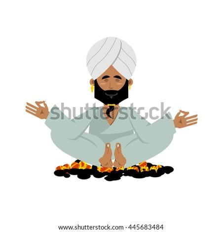 Yogi on coals. Indian yoga sitting on hot coals. Meditation Man practicing yoga exercises.  Indian Yogi in his turban on white background - stock photo