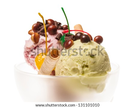 yogurt and chocolate ice cream in a bowl close up