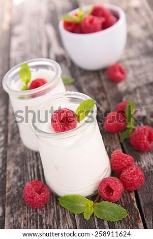 yogurt and raspberry - stock photo