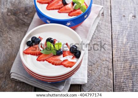 Yogurt bowl with fresh strawberries and blueberries - stock photo