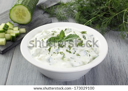 yogurt cucumber salad - stock photo