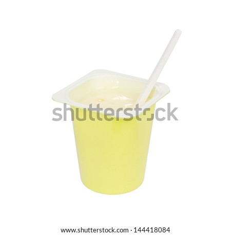 yogurt cup with spoon isolated on white background - stock photo