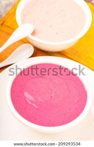 yogurt dairy product with berries  - stock photo