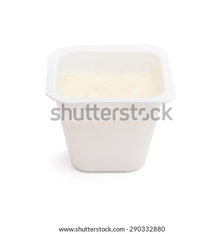 yogurt in a plastic jar on a white background