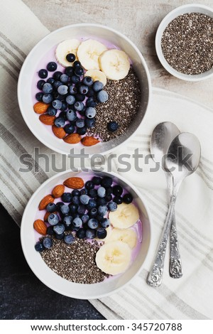 Yogurt with berries, banana, almonds and Chia seeds, bowl of healthy Breakfast every morning, vintage style, superfood and detox concept, top view - stock photo