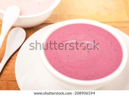 yogurt with berries dairy product - stock photo