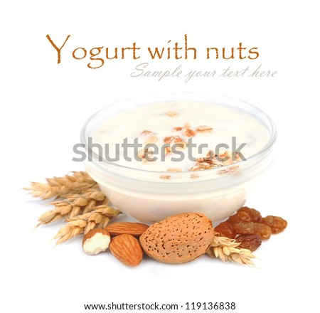 Yogurt with cereals. Dairy breakfast with almonds nuts, wheat, raisin on white isolated. - stock photo