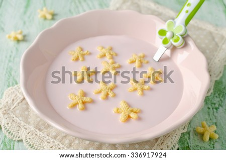 Yogurt  with corn stars. Products for healthy breakfast