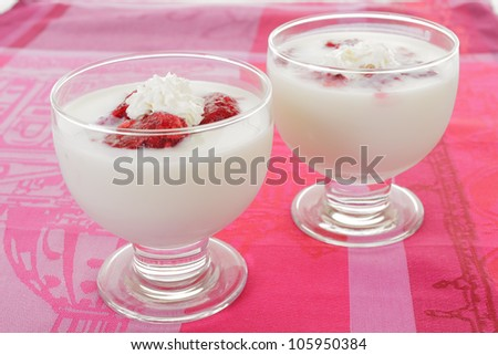 Yogurt with frozen raspberry and cream