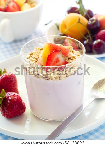 Yogurt with muesli and berries for Your breakfast