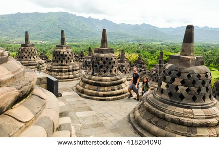 Yogyakarta, Indonesia - Apr 15, 2016 - unidentified people visit Borobudur where is the historical Buddhist relic founded in the central of Java island