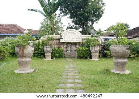 YOGYAKARTA, INDONESIA - AUGUST 26 : ancient pool at taman sari water castle - jogjakarta on 26 August 2016 . Taman Sari Water Castle is a site of a former royal garden of the Sultanate of Yogyakarta